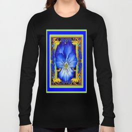 """Blue Ribbon Beauty"" Pansy Art Abstract Design Long Sleeve T-shirt"