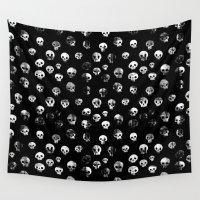 skulls Wall Tapestries featuring skulls by kjell