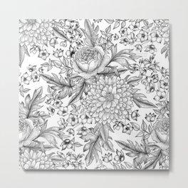 Flower pattern pencil drawing Metal Print