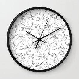 Nude Figures in Charcoal Grey Wall Clock