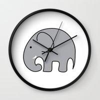baby elephant Wall Clocks featuring BABY ELEPHANT  by EYE ECHO