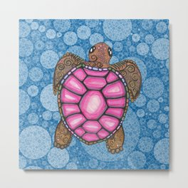 Bubblegum Pink Sea Turtle Metal Print