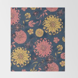 Multi-Florals in Blue & Coral Throw Blanket