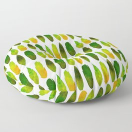 Green-yellow feathers Floor Pillow