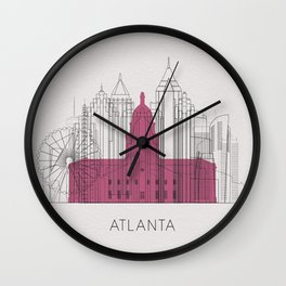 Atlanta Landmarks Poster Wall Clock