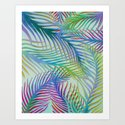 Palm Leaves Pattern - Blue, Purple, Green by sewzinski
