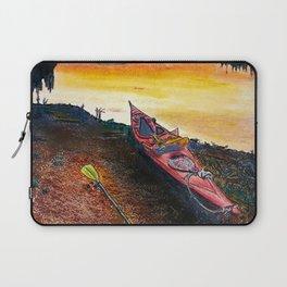 'Sundown Paddle' - Kayak - Lake - Sunset - Original Art - by Dark Mountain Arts Laptop Sleeve