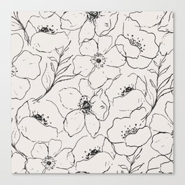 Floral Simplicity - Neutral Black Canvas Print