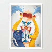 sailormoon Canvas Prints featuring Crying Sailor Moon by Claudio Bandoli