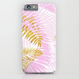 Aloha- Pink Tropical Palm Leaves and Gold Metal Foil Leaf Garden iPhone Case