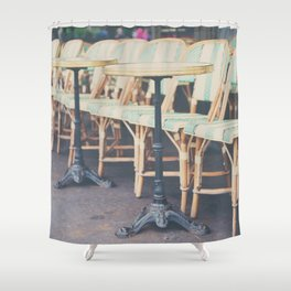 tables & chairs outside of a Paris cafe Shower Curtain
