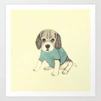 puppy Art Prints featuring puppy by maria elina