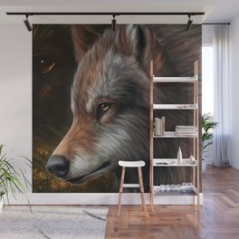 The head of a wolf painting.   Wall Mural