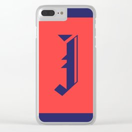 BLUE ON RED J MONOGRAM Clear iPhone Case