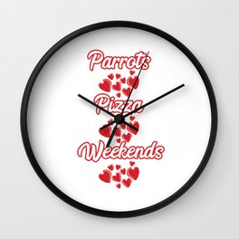 Used to be Noisy But Funny Talking Bird Tshirt Design Parrots, pizza, weekend Wall Clock