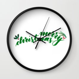 Merry Christmas - green Wall Clock