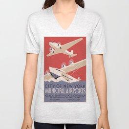 Vintage poster - New York Municipal Airports Unisex V-Neck