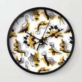 Geometric Dinos // non directional design white background yellow mustard dinosaurs shadows Wall Clock