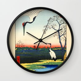 Cranes Japanese Woodblock Ukiyo-e Wall Clock