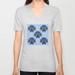 Black and White Floral Pattern Design on Blue Background Unisex V-Neck