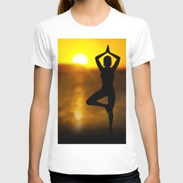 Yoga Female by the Ocean at Sunset T-shirt