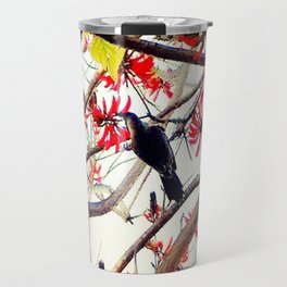 Bird in Coral Tree Travel Mug