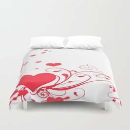Red Valentine Hearts on A White Background Duvet Cover