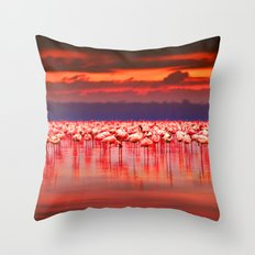 Flamingo scape Throw Pillow