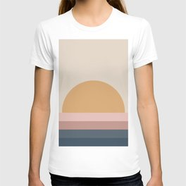 Minimal Retro Sunset - Neutral T-shirt