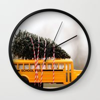 christmas tree Wall Clocks featuring Christmas Tree by Beverly LeFevre