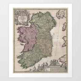 Vintage Map of Ireland (1716)  Art Print
