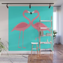 Flamingos Kissing Wall Mural
