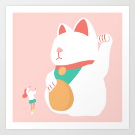Fortune Cat & Girl Art Print