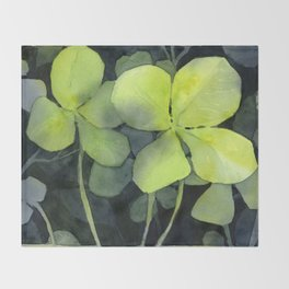 Clover Watercolor Four Leaf Clover Painting Lucky Charm Pattern Throw Blanket