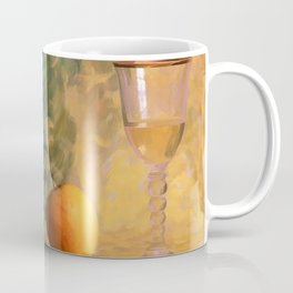 A glass of wine with an apple on a colourful painted background Coffee Mug