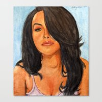 aaliyah Canvas Prints featuring Aaliyah Painting by Anthony Nold