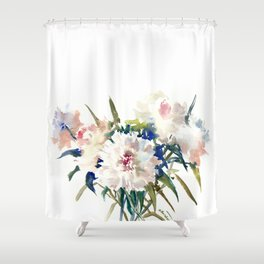 White Peonies, Asian Watercolor design Garden Peonies White lofral art Shower Curtain