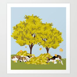 Coonhounds playing in autumn leaves Art Print
