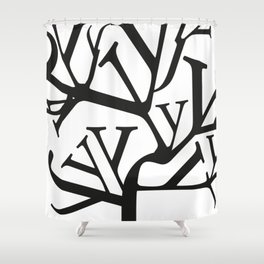 Typographic design - You better think - black on white edition Shower Curtain
