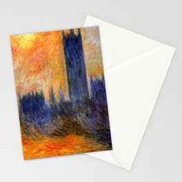 House of Parliament, London, Sun Breaking Through the Fog by Claude Monet Stationery Cards