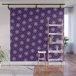 Ultra Violet Stars ornament on Dark Background Wall Mural