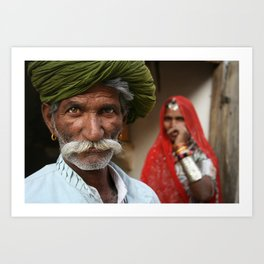 Rajasthani couple in Jaisalmer, India Art Print