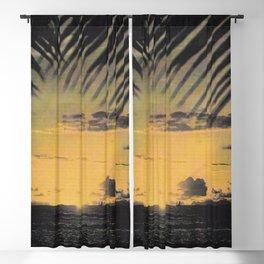 Hawaiian Sunset on Waikiki Beach Vintage Photo Blackout Curtain