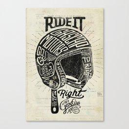 Gascap Motors, Ride it Right Helmet! vintage motorcycles Canvas Print