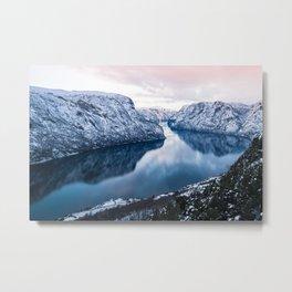 Pink fjords in Norway Metal Print