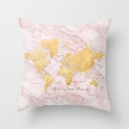 "Adventure awaits, gold and pink marble detailed world map, ""Sherry"" Throw Pillow"