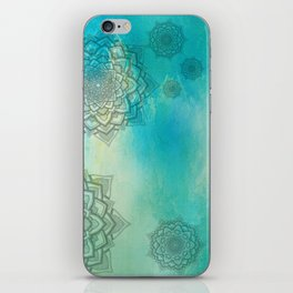 MANDALA COLLAGE ON Aqua Watercolor iPhone Skin