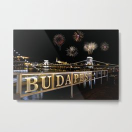 Chain bridge  with fireworks on Budapest city. Metal Print