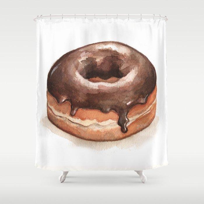 Chocolate Glazed Donut Shower Curtain