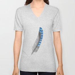 Blue Jay Feather Unisex V-Neck